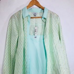 Worthington mint bay with soft gold blouse